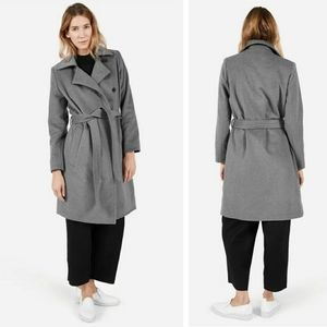 Everlane Gray Wool Belted Trench Coat